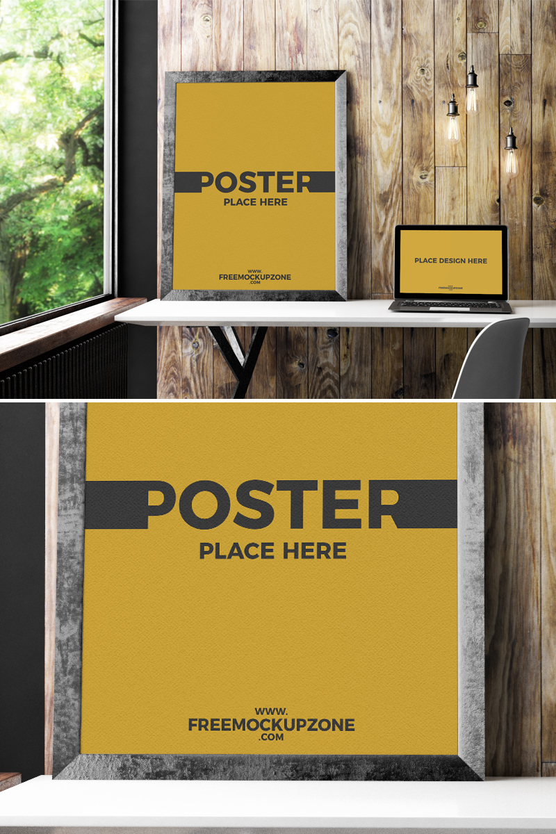 Free-Laptop-With-Poster-Frame-Mockup