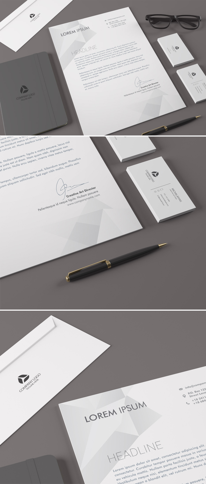 free realistic corporate identity stationary mockup, Powerpoint templates