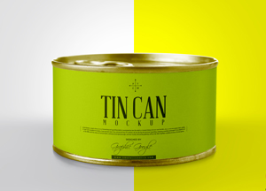 Free Realistic Tin Can Packaging Mockup