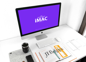 Free iMac on Designer Workspace Mockup