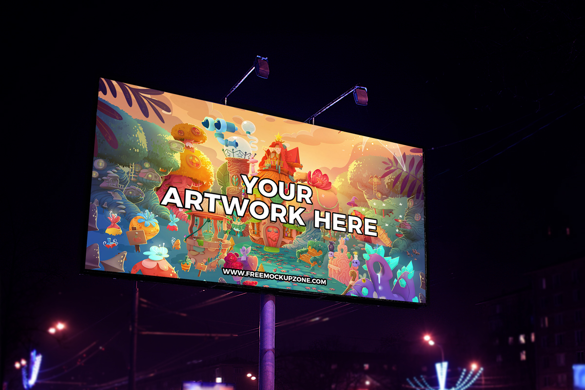 Free-Night-Scene-Advertisement-Billboard-Mockup-2018