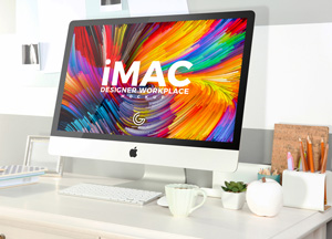 Free Designer Workplace With iMac Mockup 2018