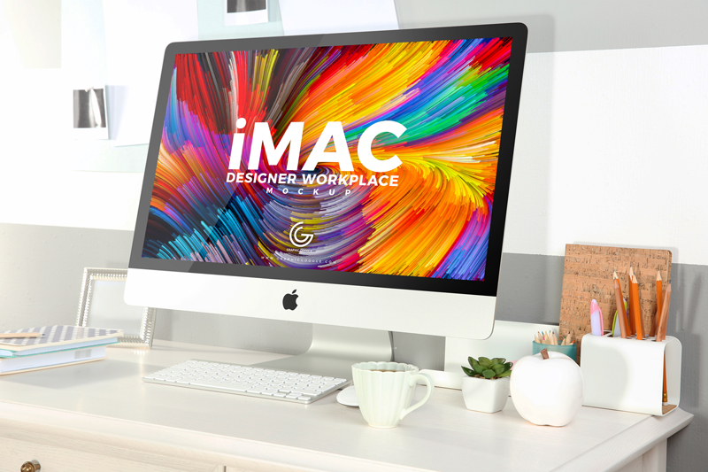 Free-Designer-Workplace-With-iMac-Mockup-2018
