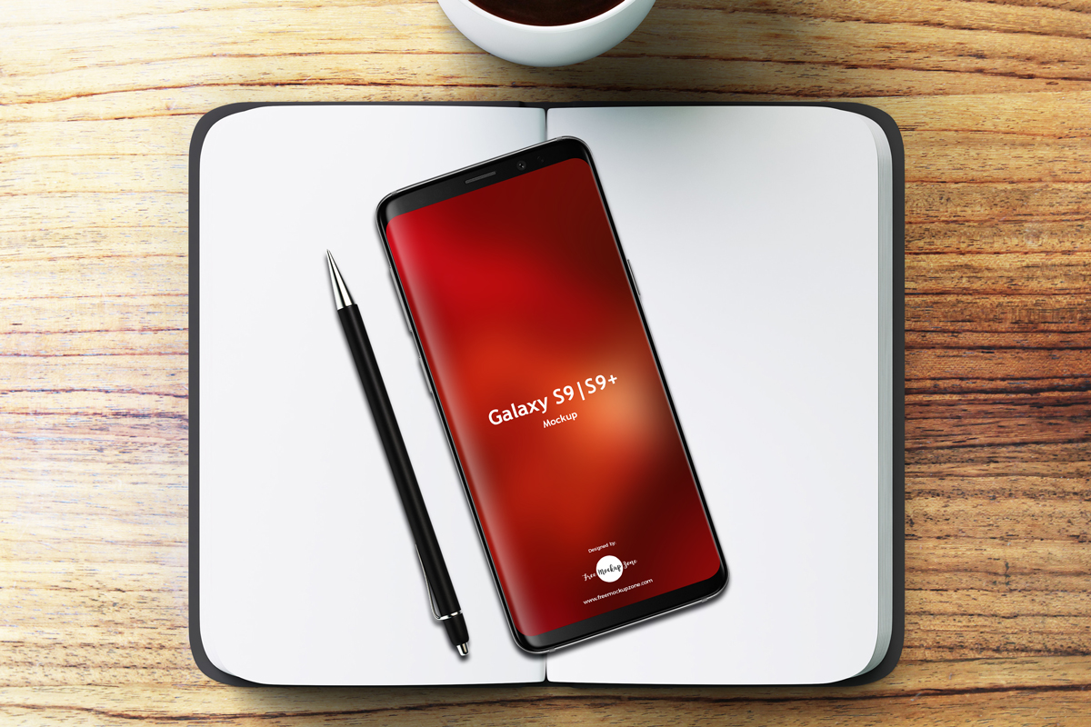 Free-Notebook-With-Samsung-Galaxy-S9-&-S9+-Mockup-2018