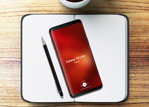 Free Notebook With Samsung Galaxy S9 & S9+ Mockup 2018