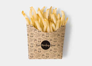 Free Brown Paper French Fries Box Mockup PSD