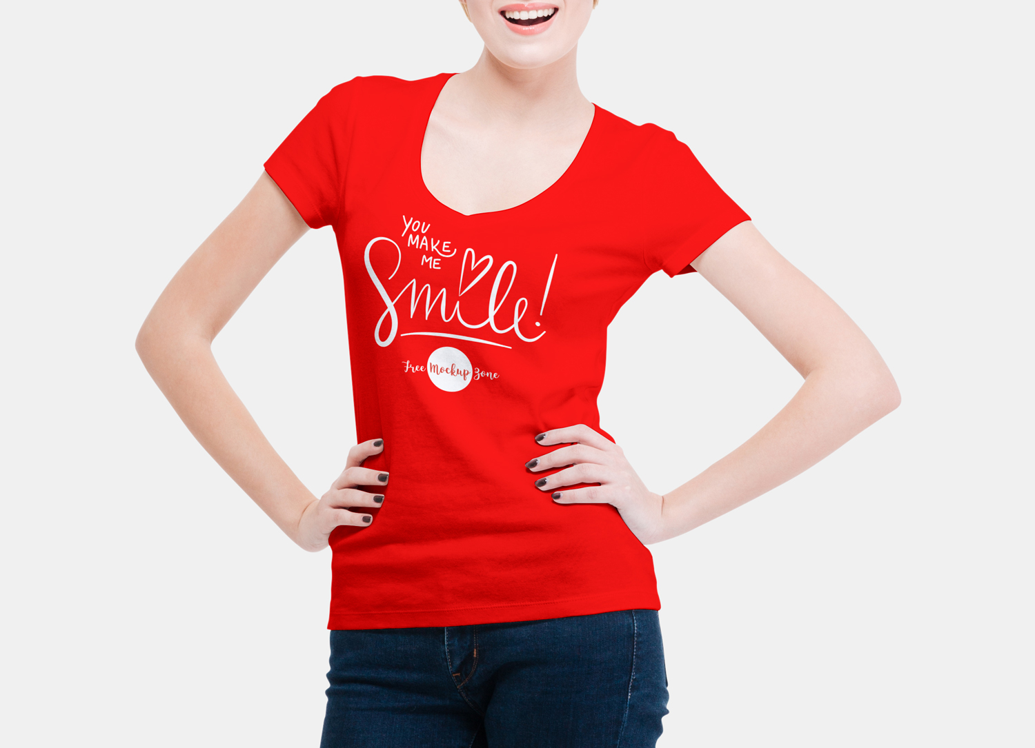 Free-Smiling-Woman-Wearing-V-Shape-T-Shirt-Mockup-PSD-2018