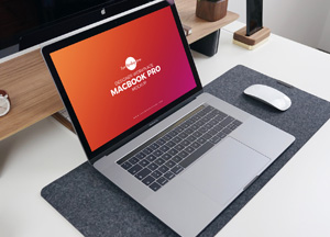 Free Designer Workplace MacBook Pro Mockup PSD 2018