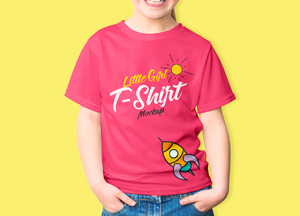 Free Little Girl T-Shirt Mockup PSD 2018