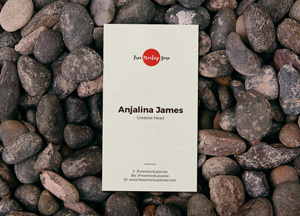 Free Business Card on Stones Mockup PSD
