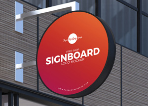 Free Shop Sign Board Logo Mockup PSD