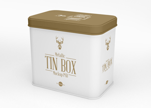 Free Metallic Tin Box Mockup PSD