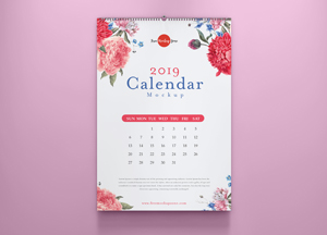 Free Calendar Mockup PSD With Colored Wall