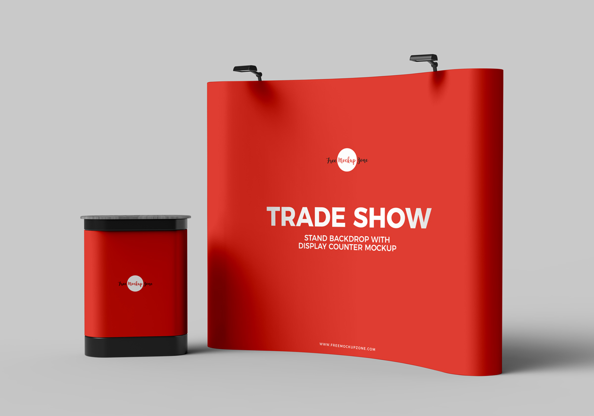 Free-Trade-Show-Banner-Stand-Backdrop-With-Display-Counter-Mockup-PSD