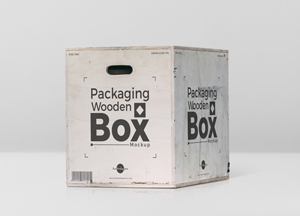 Free Packaging Wooden Box Mockup PSD
