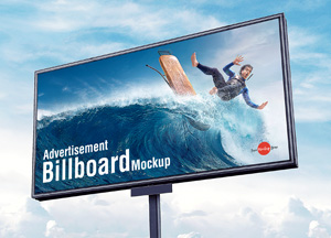 Free Outdoor Advertisement Sky Billboard Mockup PSD