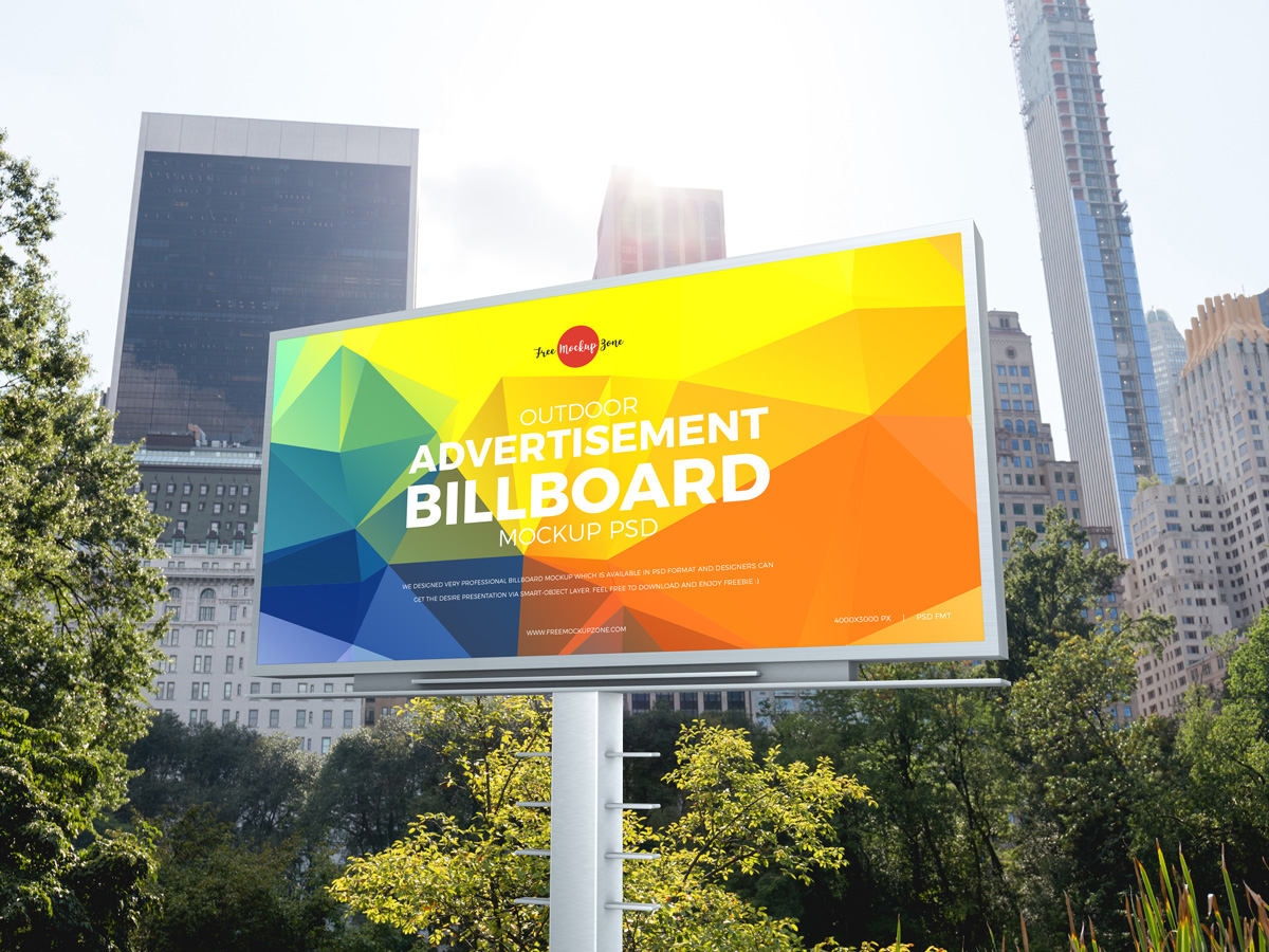 Free-City-Outdoor-Advertisement-Billboard-Mockup-PSD-2019