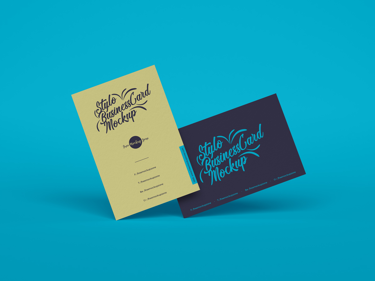 Free-Stylo-Business-Cards-Mockup-For-Branding-2019