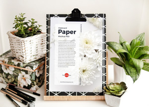 Free Clipboard Paper Mockup PSD For Branding 2019