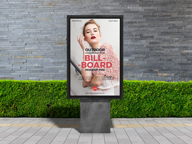 Free-Outdoor-Advertisement-Stand-Billboard-Mockup-PSD-2019