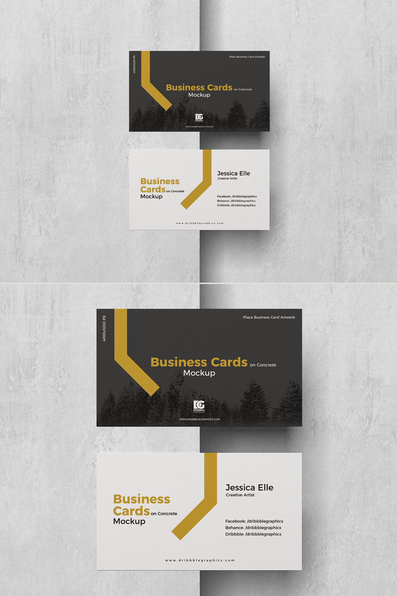 Free-Business-Cards-Placing-on-Concrete-Mockup