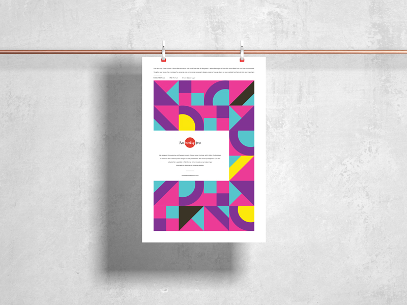 Free-Modern-Clipped-Hanging-Poster-Mockup