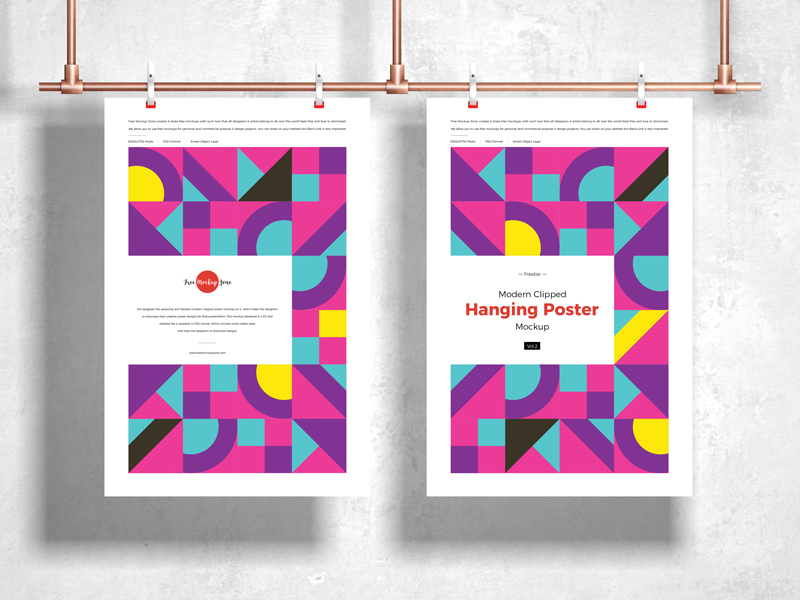 Free-Modern-Clipped-Hanging-Poster-Mockup-Vol-2