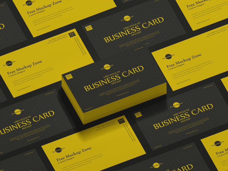 Free-Grid-Stack-of-Business-Card-Mockup