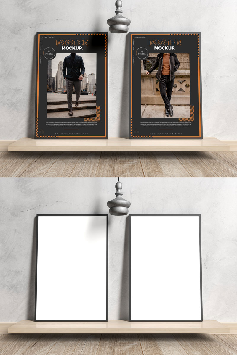 Free-Elegant-Two-Black-Framed-Poster-Mockup