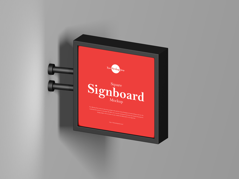 Free-Square-Signboard-Mockup