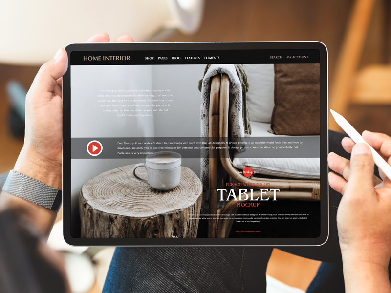 Free-Person-Working-on-Tablet-Mockup