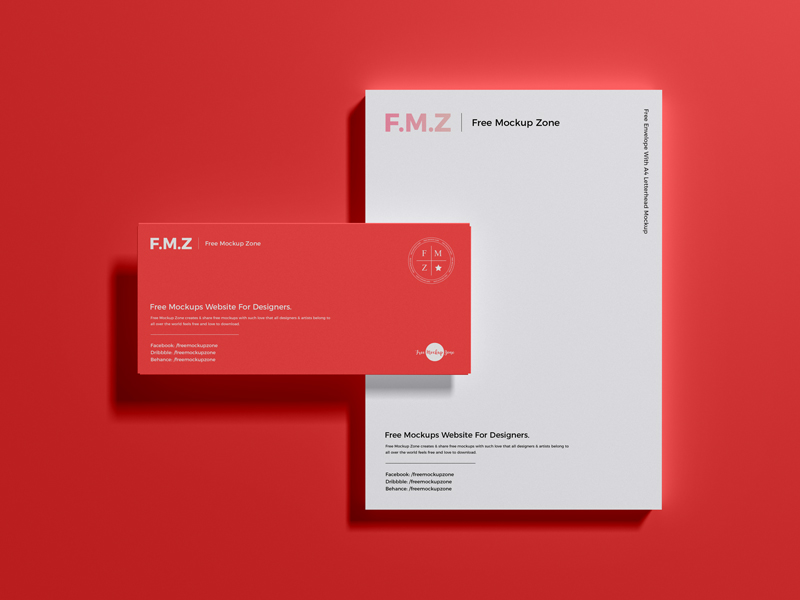 Free-Envelope-With-A4-Letterhead-Mockup-PSD