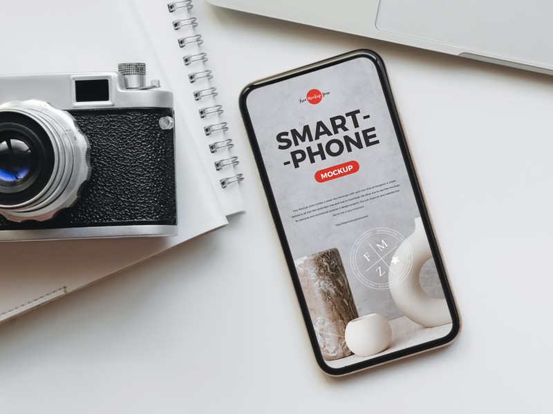 Free-Camera-With-Smart-Phone-Mockup-PSD