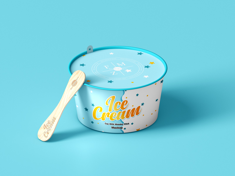 Free-Ice-Cream-Cup-With-Wooden-Stick-Mockup