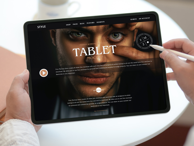 Free-Person-Working-on-Modern-Tablet-Mockup