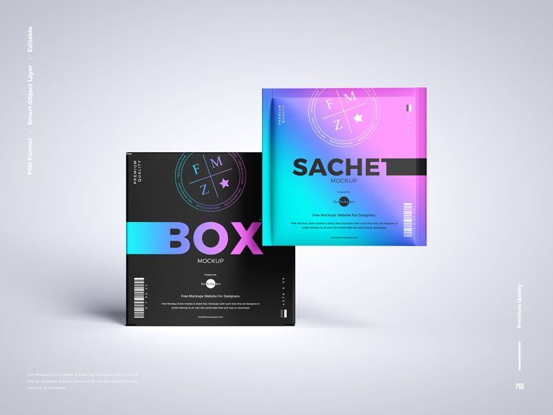 Free-Sachet-With-Box-Packaging-Mockup