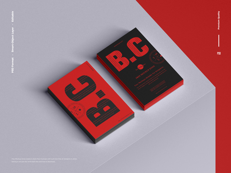 Free-Branding-Stack-of-Business-Card-Mockup