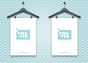 Free 2 Posters Hanging on Hangers Mockup