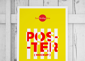 Free Standing Poster on Wood Mockup #1