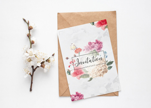 Free Lovely Invitation Mockup PSD For Wedding Greetings