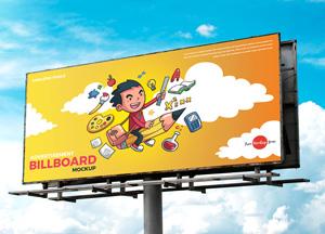 Free Realistic Outdoor Advertisement Hoarding Billboard Mockup PSD 2018