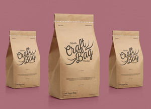 Free Packaging Craft Stitched Bag Mockup PSD