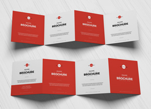 Free Square Zigzag Four Brochure Mockup PSD 2018